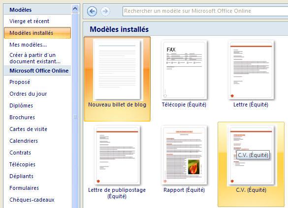 Les mod les dans word 2007 - Telechargement de office word 2007 gratuit ...