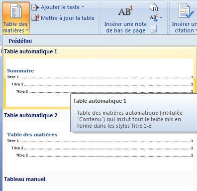 Cr er une table des mati re dans word 2007 - Faire un set de table plastifie ...