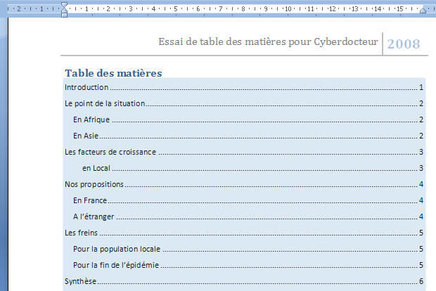 Cr er une table des mati re dans word 2007 - Exemple table des matieres ...