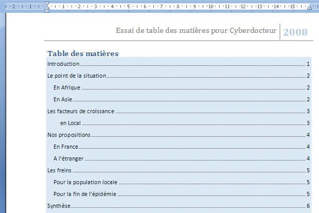 Creer Une Table Des Matiere Dans Word 2007